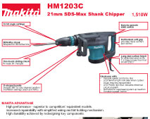 Makita Power Tools South Africa Demolition Hammer Hm1203c